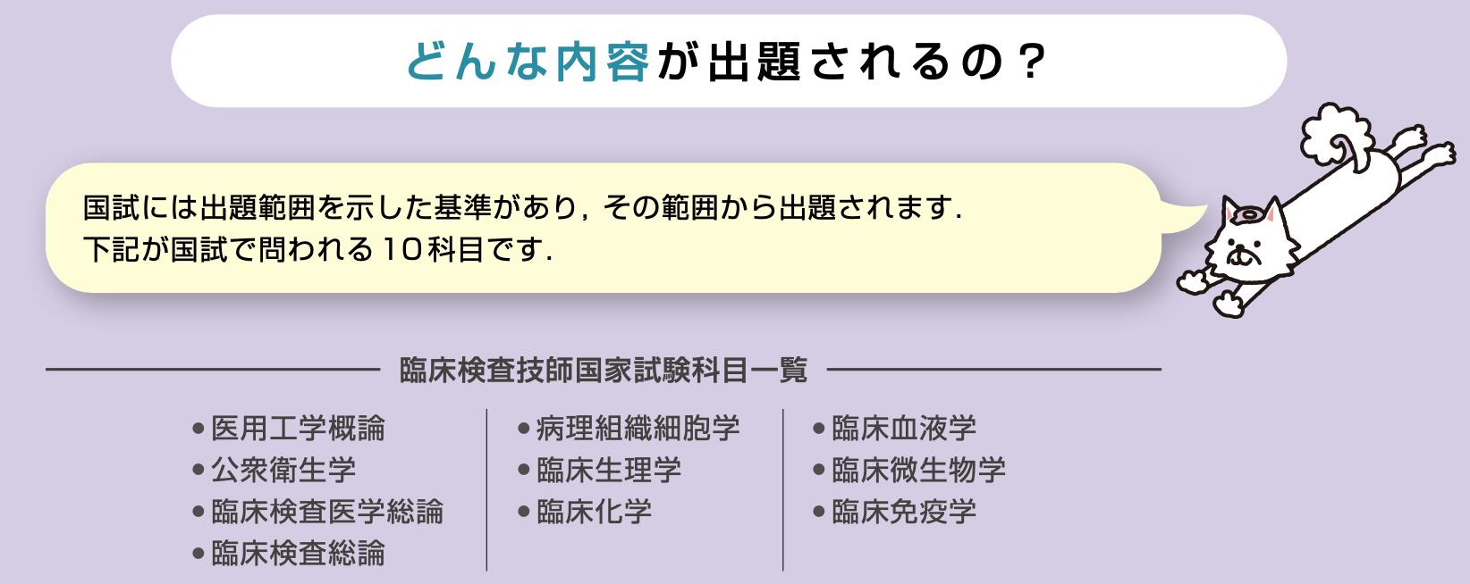 国試には出題範囲を示した基準があり,その範囲から出題されます.   下記が国試で問われる10科目です.